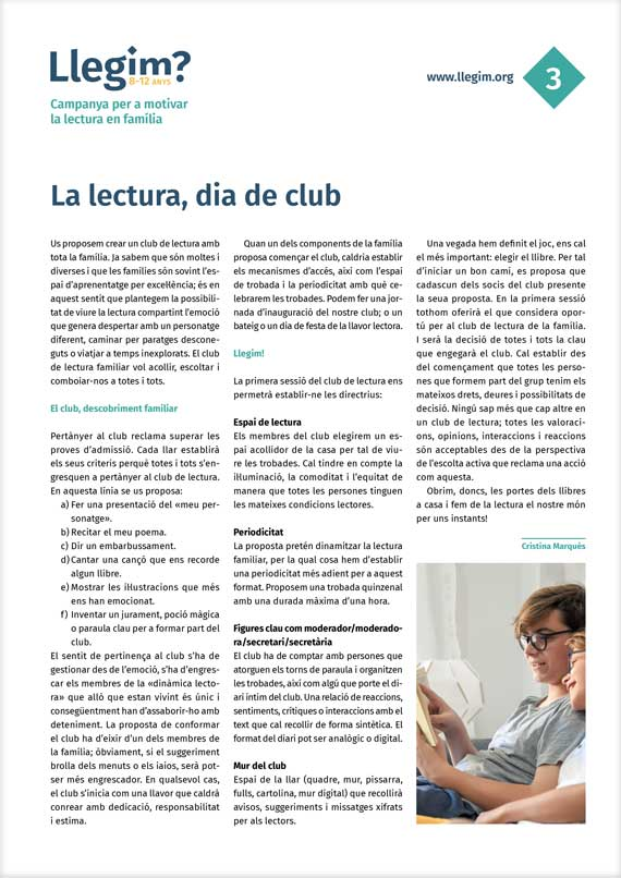 3. La lectura, dia de club